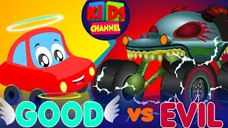 Little Red Car vs Haunted House Monster Truck | Good vs Evil | Original Song For Kids