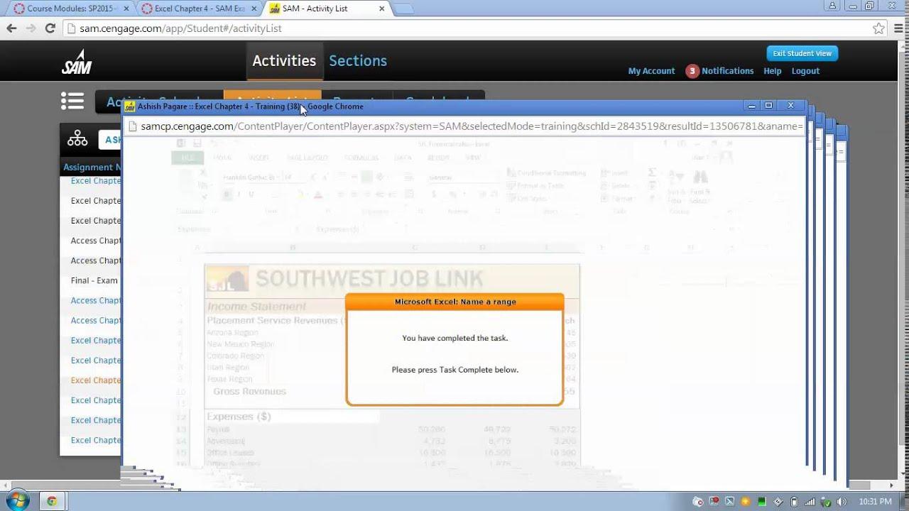 CSC 1123 Week 6 Excel Chapter 4 SAM Exam Help Video