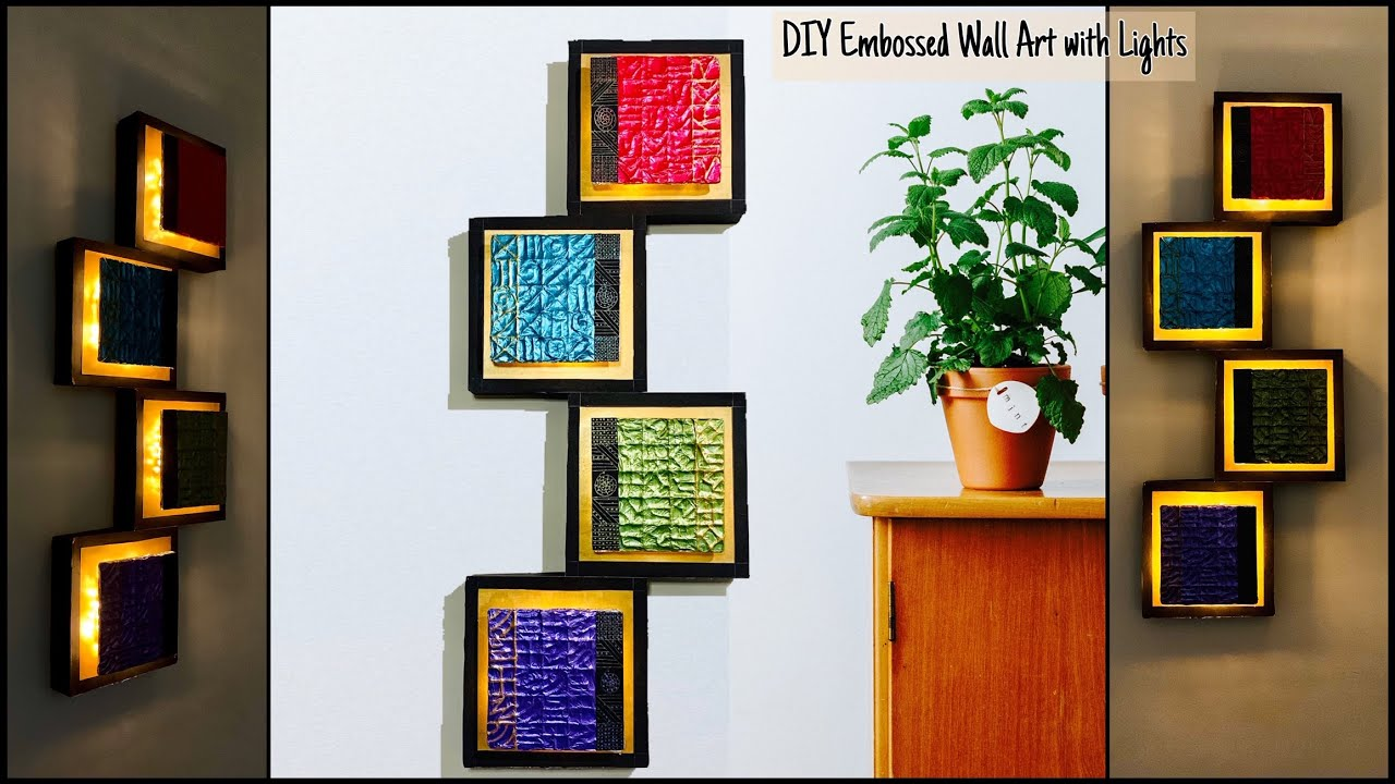 4 Square Framed Embossed Wall Decor with Lights| gadac diy| Home Decorating Ideas| Handmade Crafts