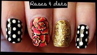Roses & Dots nail art