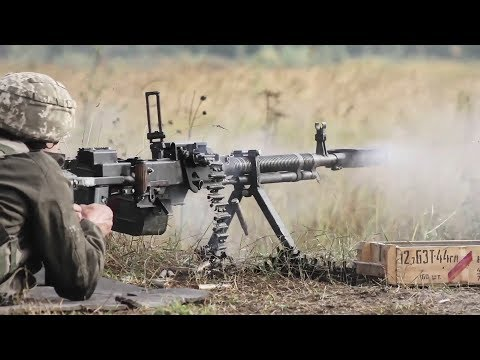 Ukrainian Soldiers Fire Giant Super Sized Machine Guns - DShK Heavy Machine Gun Shooting Live Fire