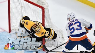 Boston didn't go quietly, rallying from two goals down in the third period to force overtime, but casey cizikas' breakaway winner snatched home ice for i...