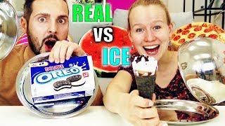 REAL FOOD vs ICE FOOD Challenge! Kathi vs Kaan - Echtes Essen gegen Eis! Was schmeckt besser?
