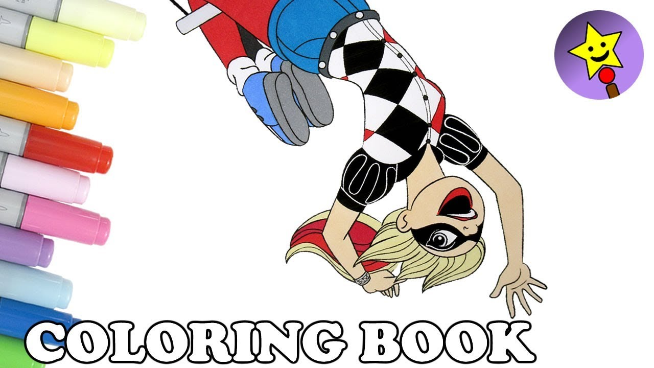 Coloring book quinn - Dc Super Hero Girls Harley Quinn Coloring Book Page Dc Superhero Girls Coloring Page Kids Art