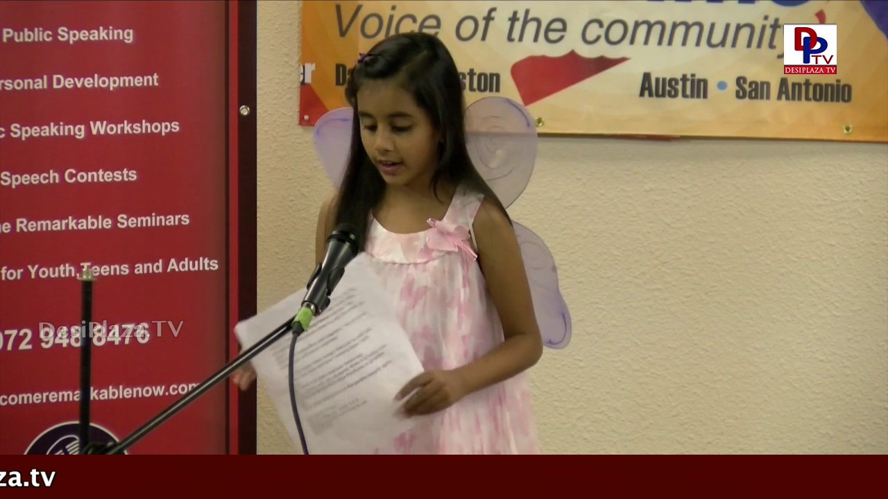 Participant (5 to 8 yrs) perform her Persuasive speech Competitions - DPTV & Inspiration Masters