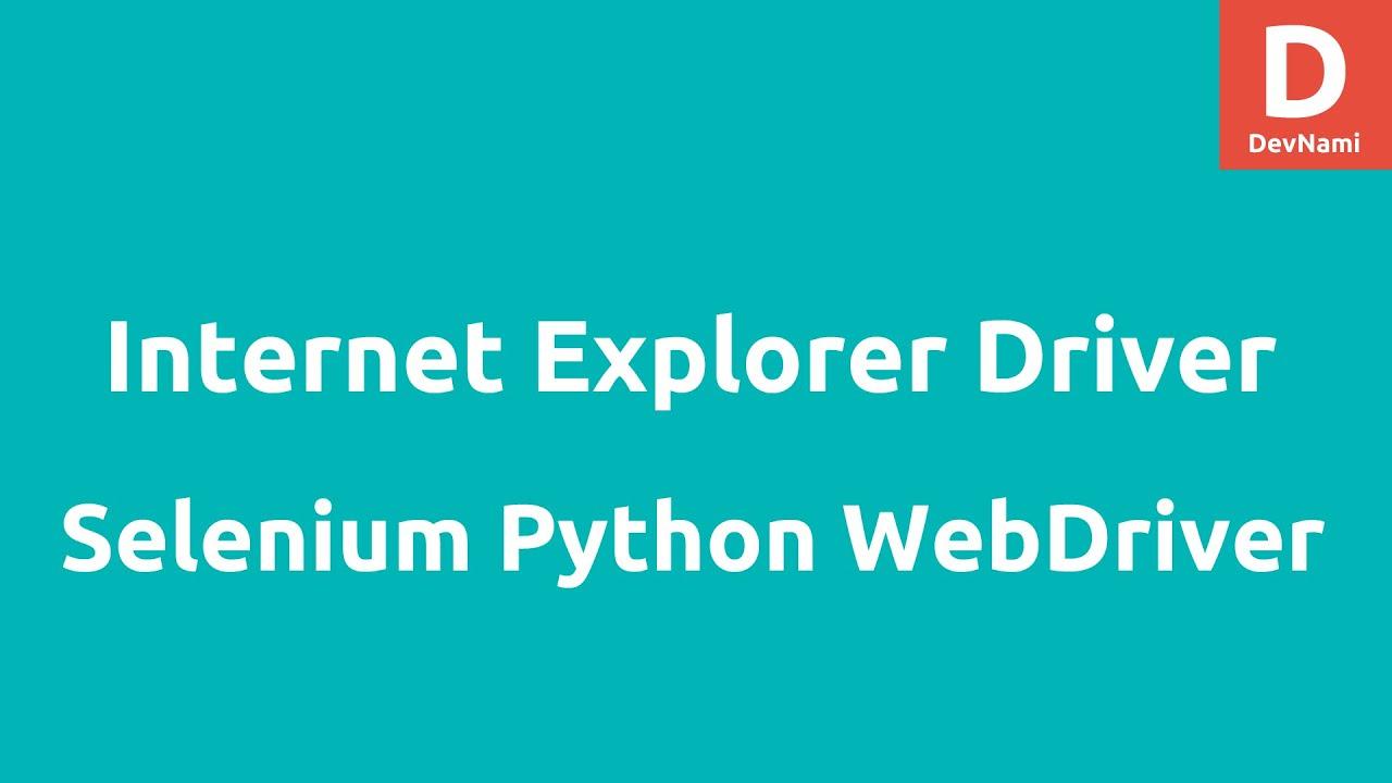 Internet Explorer Driver using Selenium 2 Python
