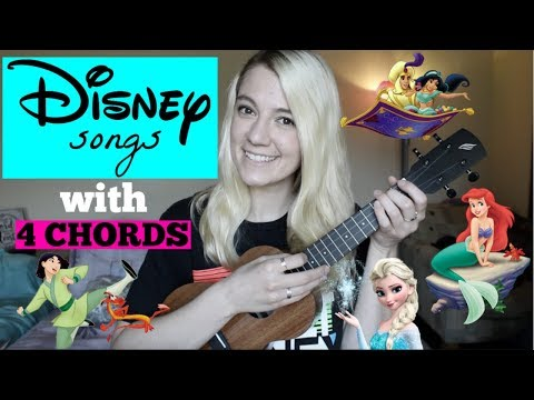 4 basic chords, Disney songs on ukulele *MASHUP*