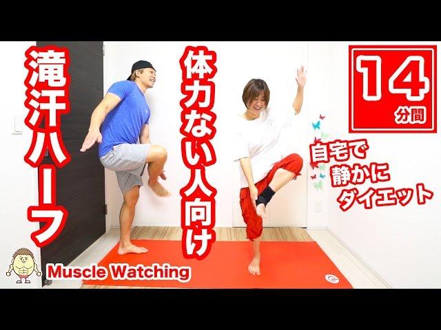【14分】滝汗ハーフ!1番簡単!自宅でゆっくり静かバージョン!30秒×28種目 | マッスルウォッチング