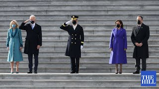 President Biden Reviews the Readiness of Military Troops in a Pass in Review President Joe Biden and Vice President Kamala Harris review the readiness of military troops in a Pass in Review., From YouTubeVideos