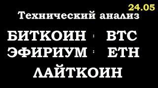 КРИПТОВАЛЮТЫ.: технический анализ биткойн, BTC,эфириум, Eth, лайткоин,  24.05.20 Трейдинг