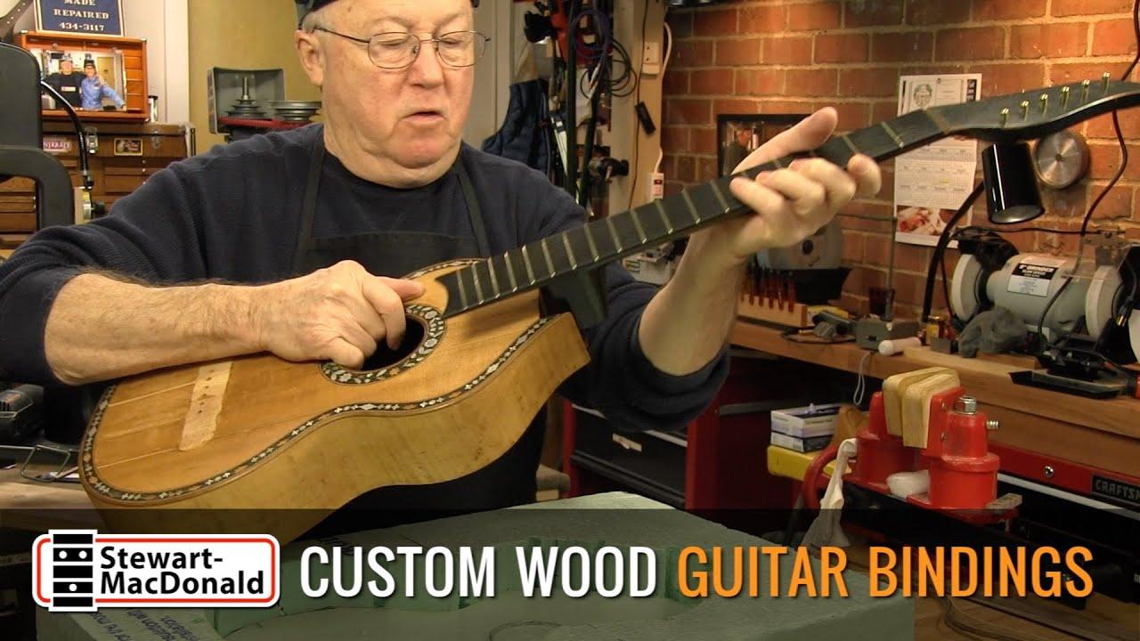custom walnut bindings for an 1800s german guitar with loop