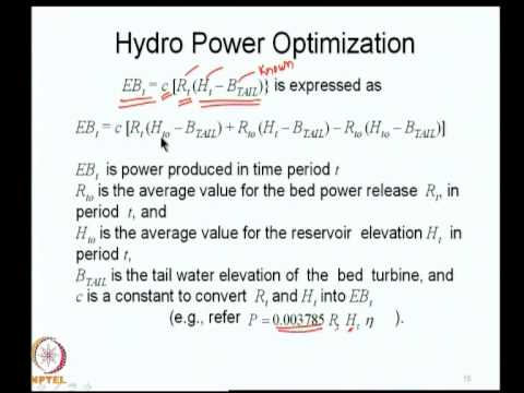 Mod-08 Lec-38 Hydropower optimization