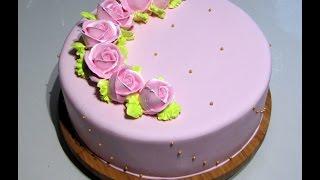 Мастично-кремовое оформление торта.