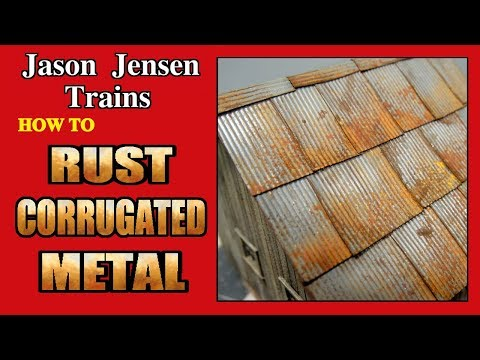 Rusted corrugated metal roof for model railroad structures Episode 009