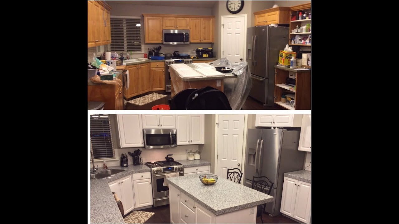 Diy Painted Kitchen Cabinets Before And After diy-painting kitchen cabinets white! - youtube