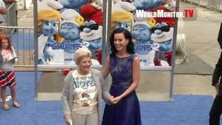 Katy Perry and her Grandma arrive at 'Smurfs 2' World film premiere Blue Carpet