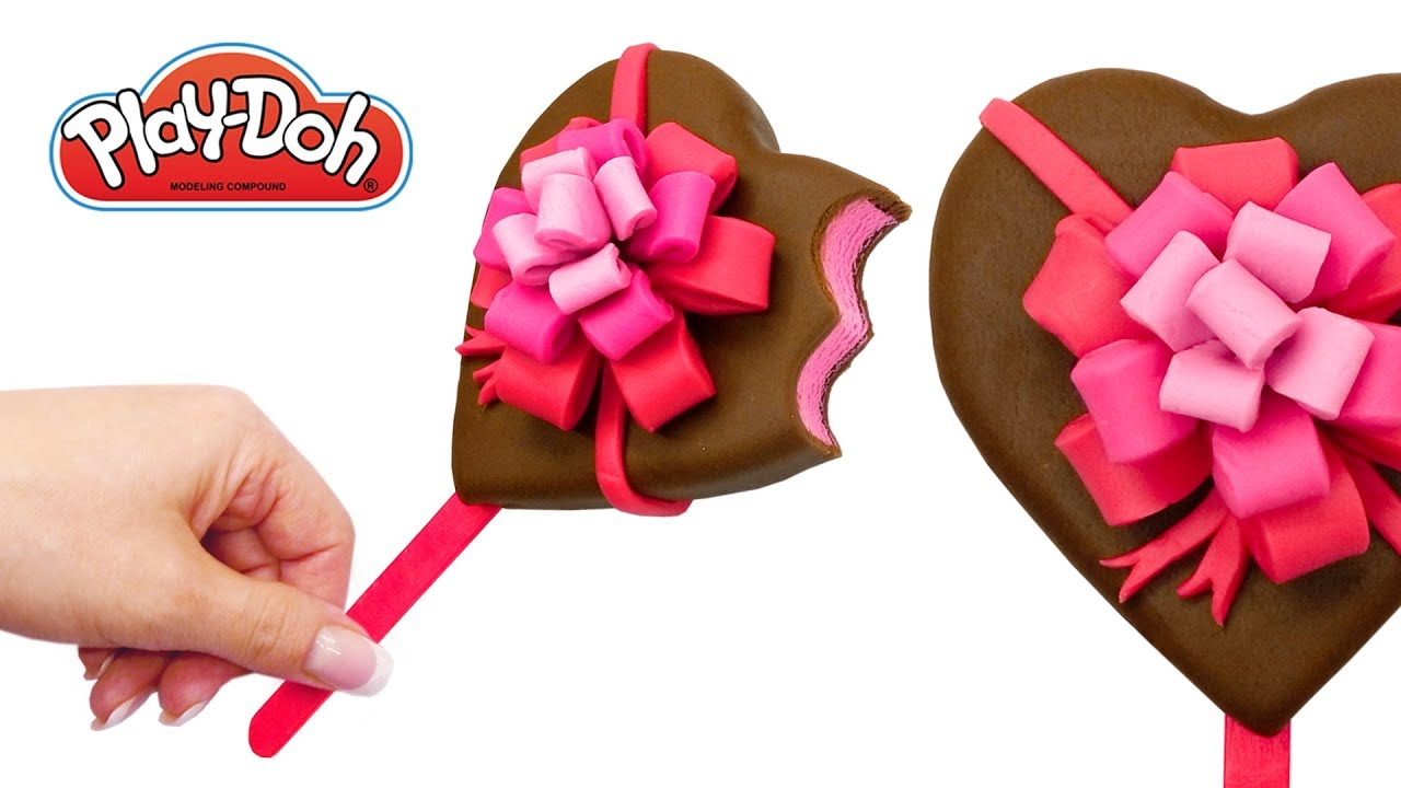 How To Make Play Doh Ice Cream Heart Popsicle Out Of Play Doh Valentines Day Gift For Kids