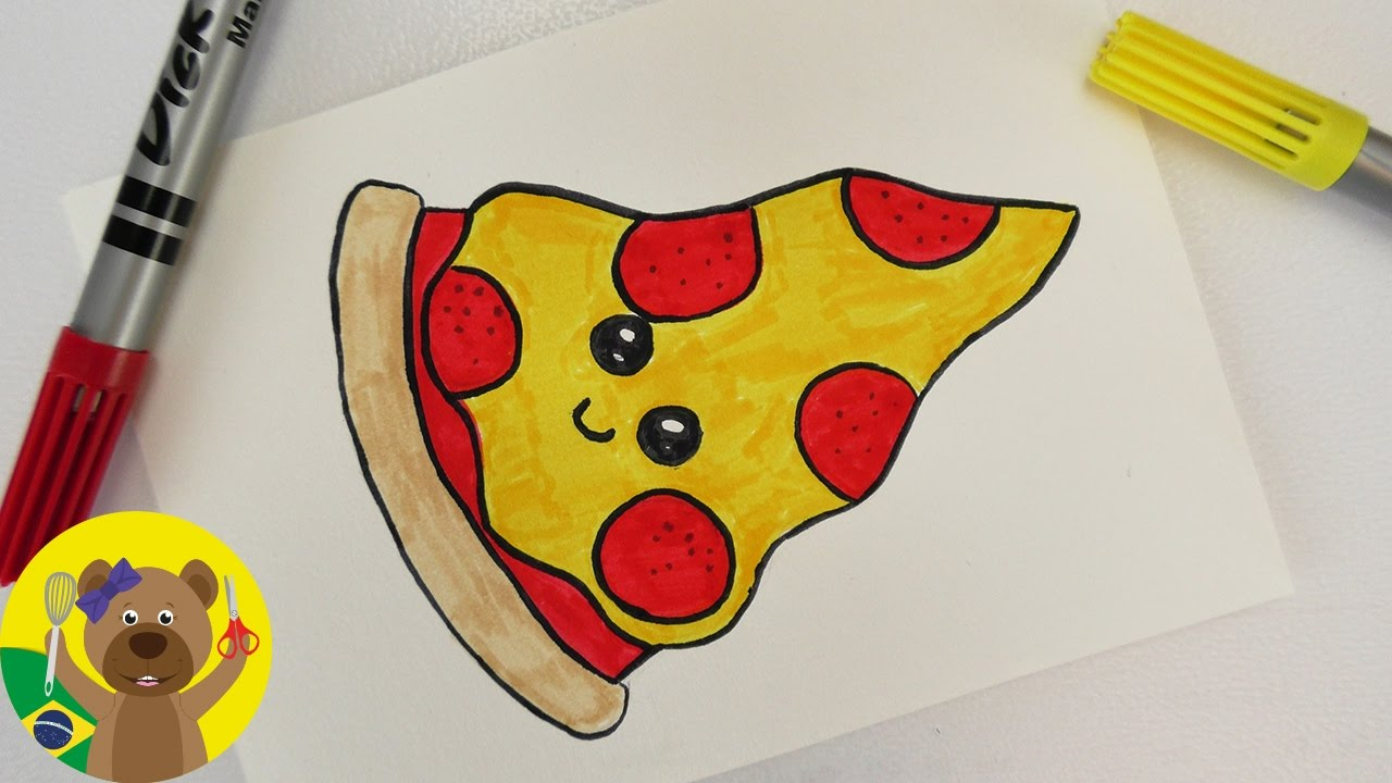 Pizza Kawaii  Como Desenhar Uma Pizza Super Fofa!  Youtube
