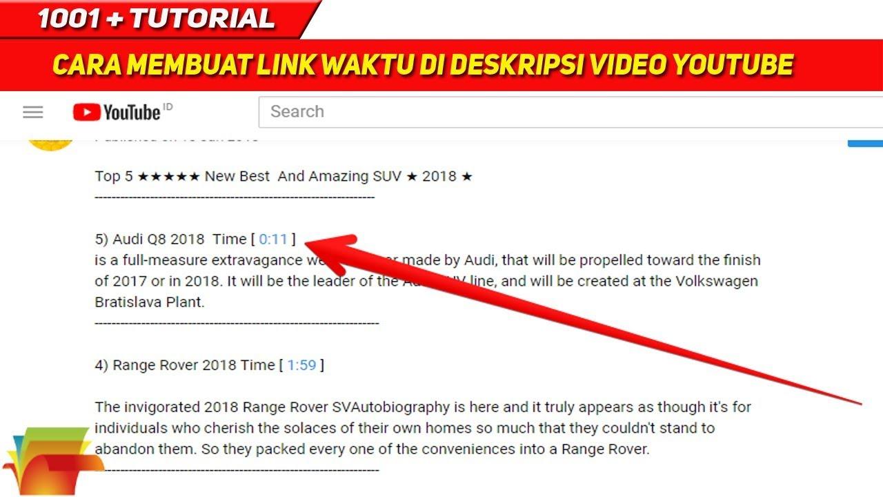 Cara Menempatkan Link Waktu Di Deskripsi Video Youtube
