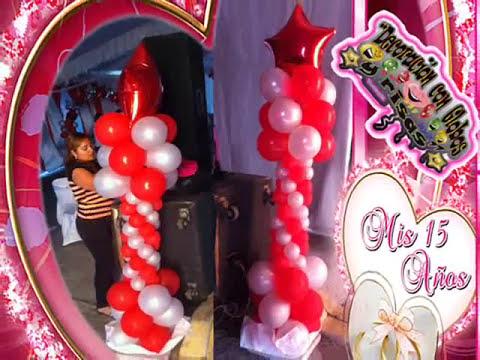 Xv a os rojo plata decoraci n con globos youtube for Decoracion con globos para xv anos
