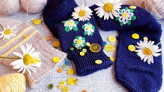 Носочная Коллекция пара четвёртаяРомашки в Ночи ПЯТКА - это ПРОСТО пяткаспицами носкиспицами
