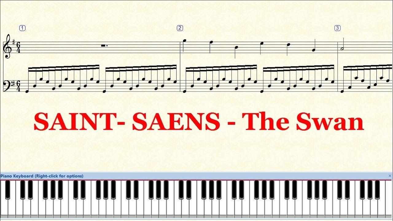 Piano Tutorial Sheet - SAINT-SAENS The Swan - HD