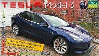 Tesla Model 3 Perf. blau: Übergabe, erste Fahrt, Laden an Typ…