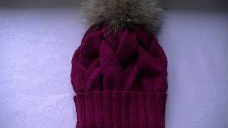 Вязание  шапки узором  большие  косы с 30 петель.