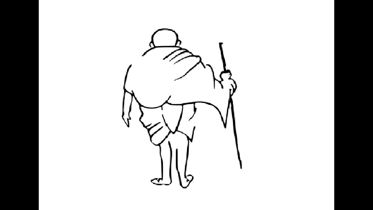 How to draw mahatma gandhi dandi march drawing step by step