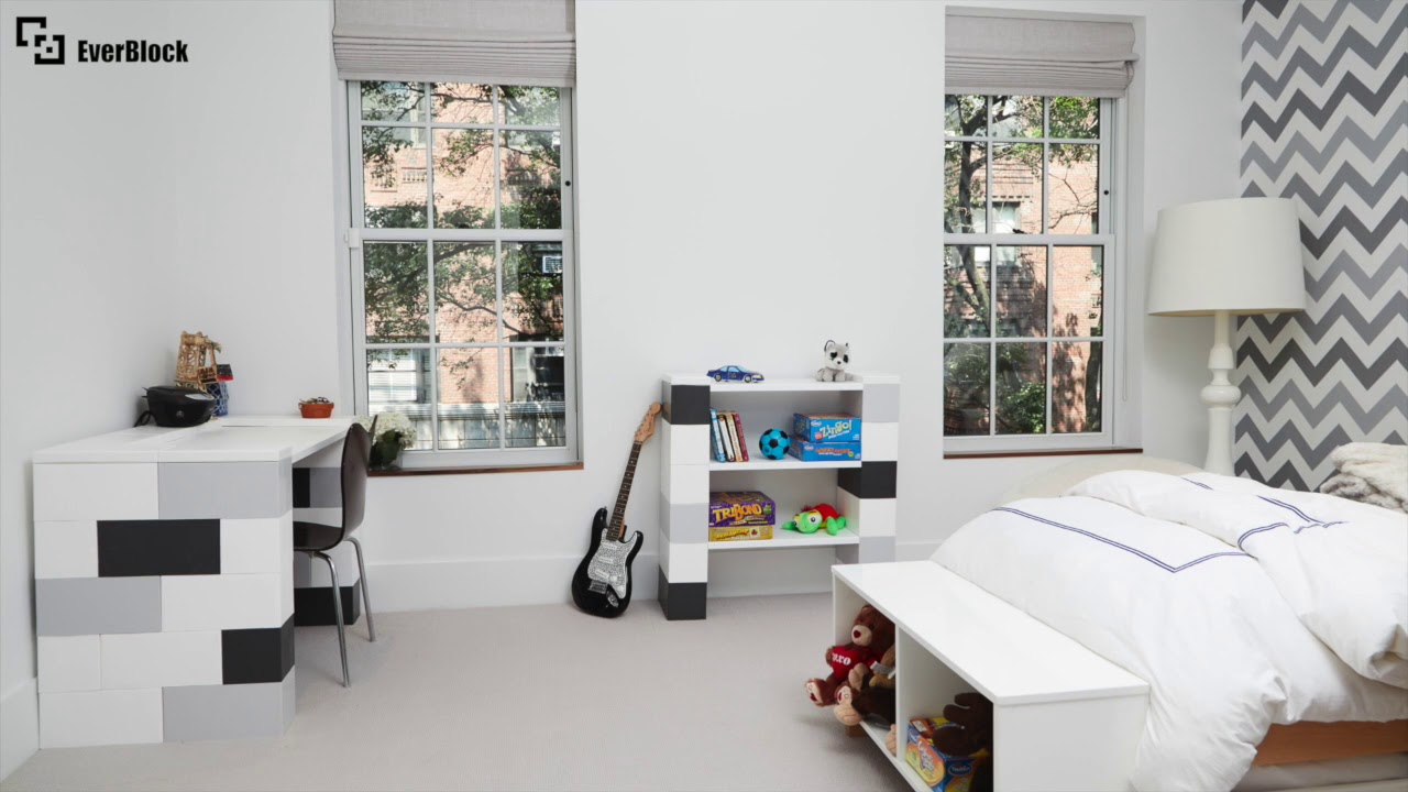 everblock desk and bookshelf build | stop motion - youtube