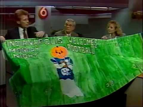 October 1988 - Indy Sportscaster Ed Sorensen Displays Colts Banner