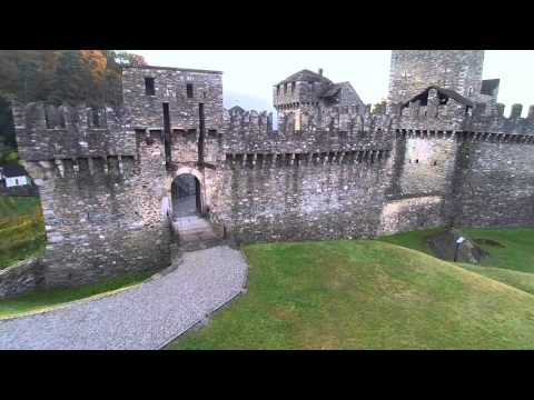 Aerial drone video of Montebello Castle, Bellinzona - Switzerland - (HD)