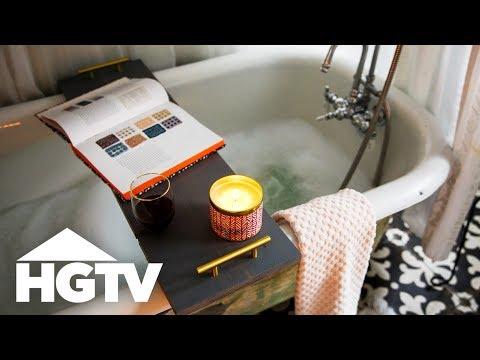DIY Bathtub Caddy With Wine Glass Holder - HGTV Happy