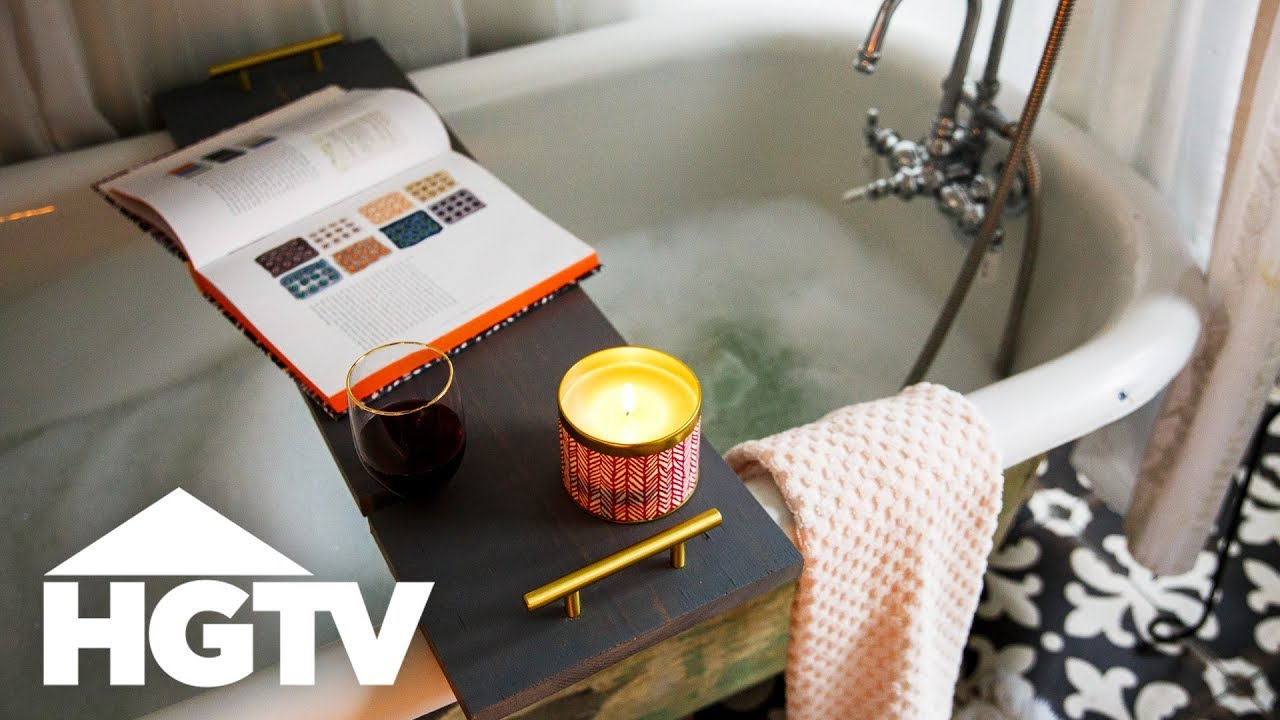 DIY Bathtub Caddy With Wine Glass Holder - HGTV Happy - YouTube