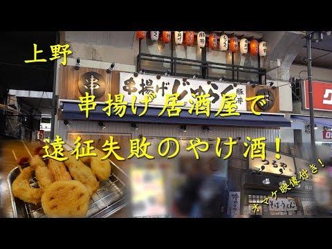 上野【串揚げじゅらく】でやけ酒!Drinking at Spitted Cutlets Bar KUSHIAGE JURAKU in Ueno.【飯動画】