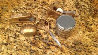 Easy Diy Using Dollar Tree Items {nate Burkes Inspired Gold Office Supplies Line}