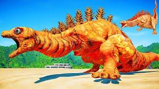 Jurassic World Evolution 🌍 NEW Shin godzilla form 2!! Anguirus,Mothra,King ghidorah  Dinosaurs Fight