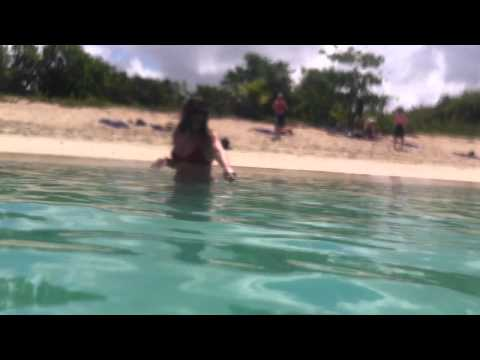 Using my overboard case on my Iphone 4 in Antigua