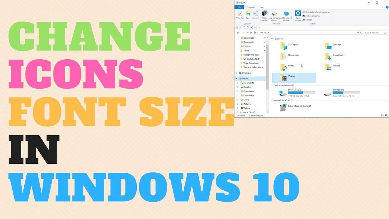 how to change desktop icon text size windows 10