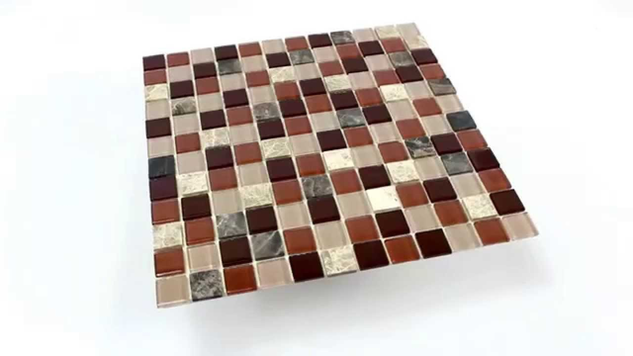 selbstklebende mosaik naturstein glas fliesen beige braun emperador youtube. Black Bedroom Furniture Sets. Home Design Ideas