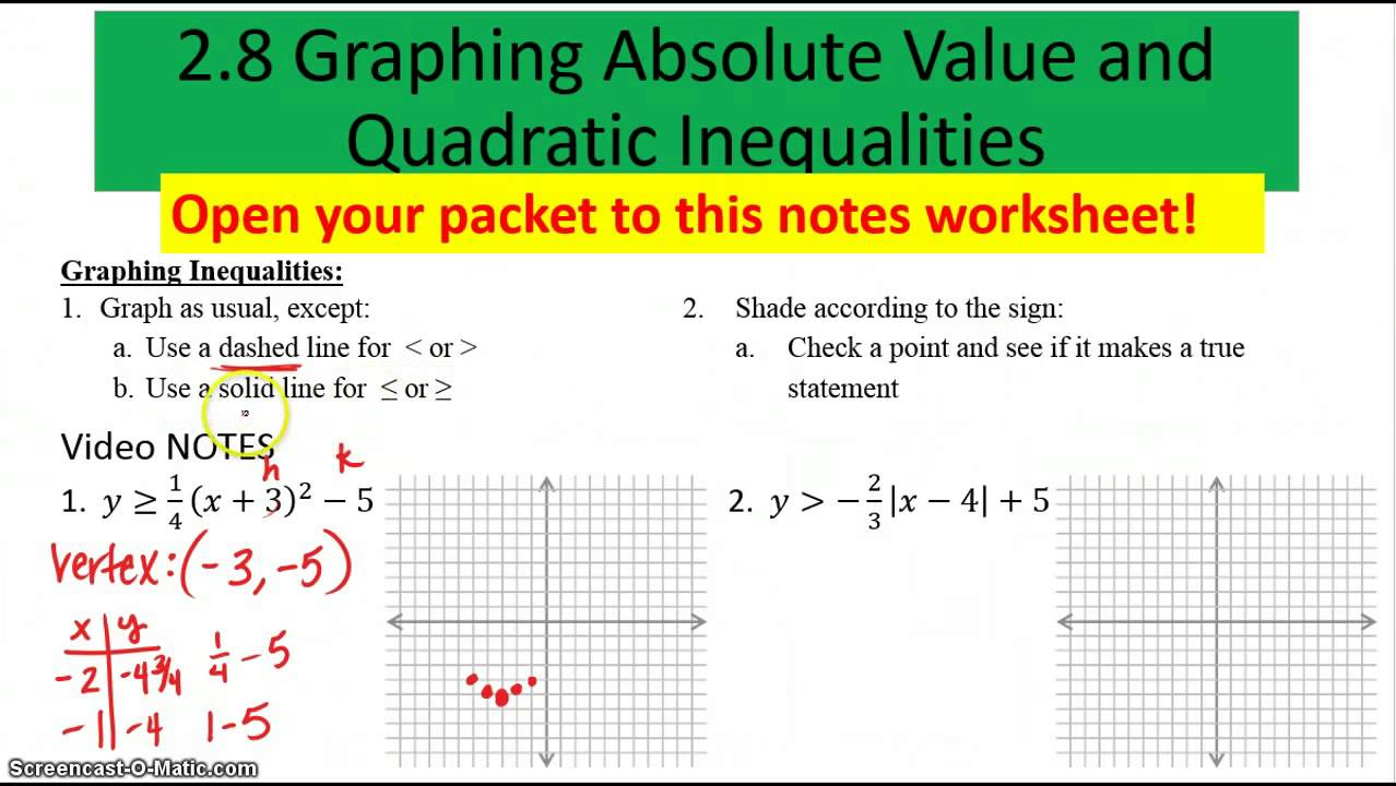 Worksheets Graphing Quadratic Inequalities Worksheet 2 8 graphing absolute value and quadratic inequalities youtube