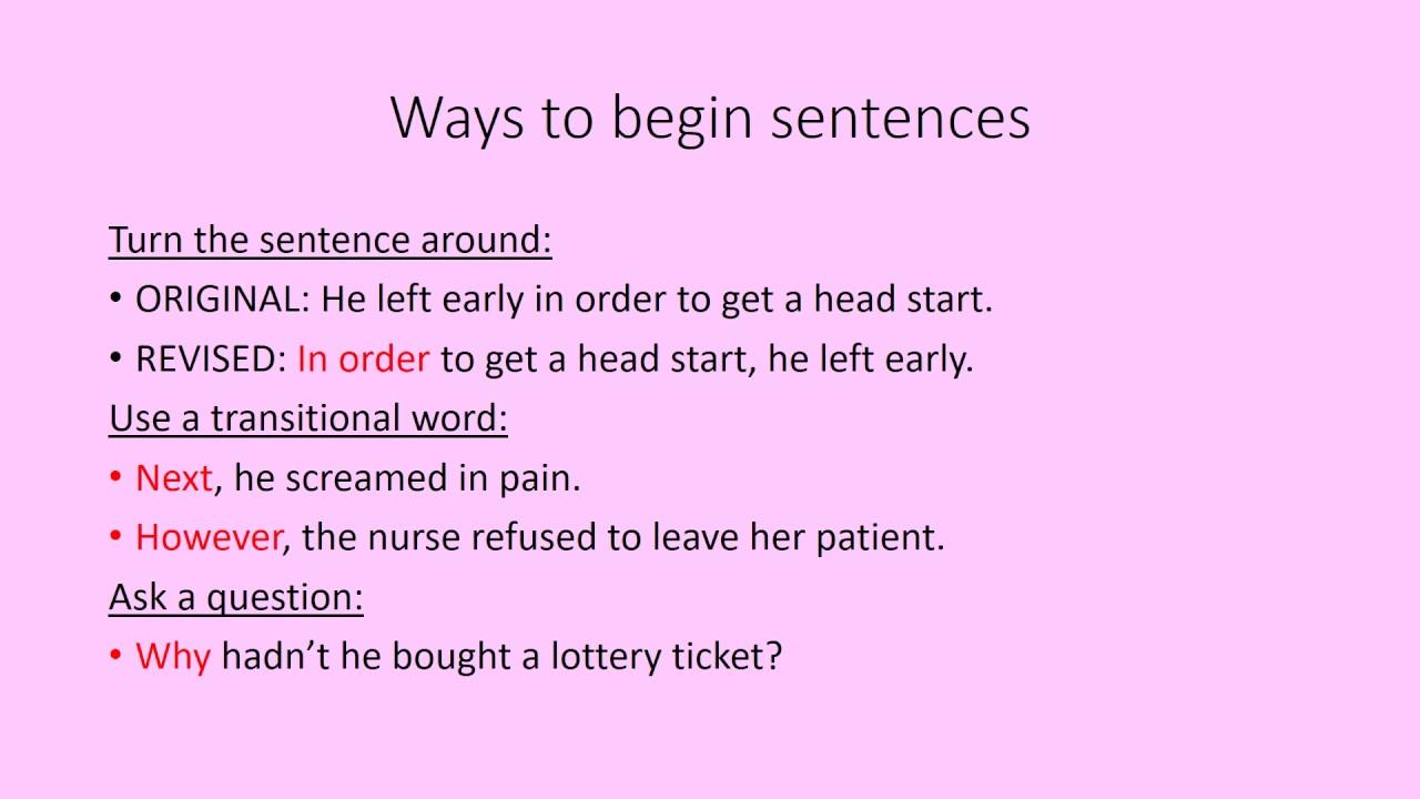 varying sentence beginnings