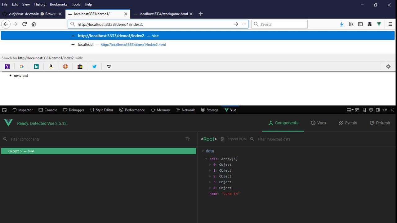 An Example of Vue js DevTools