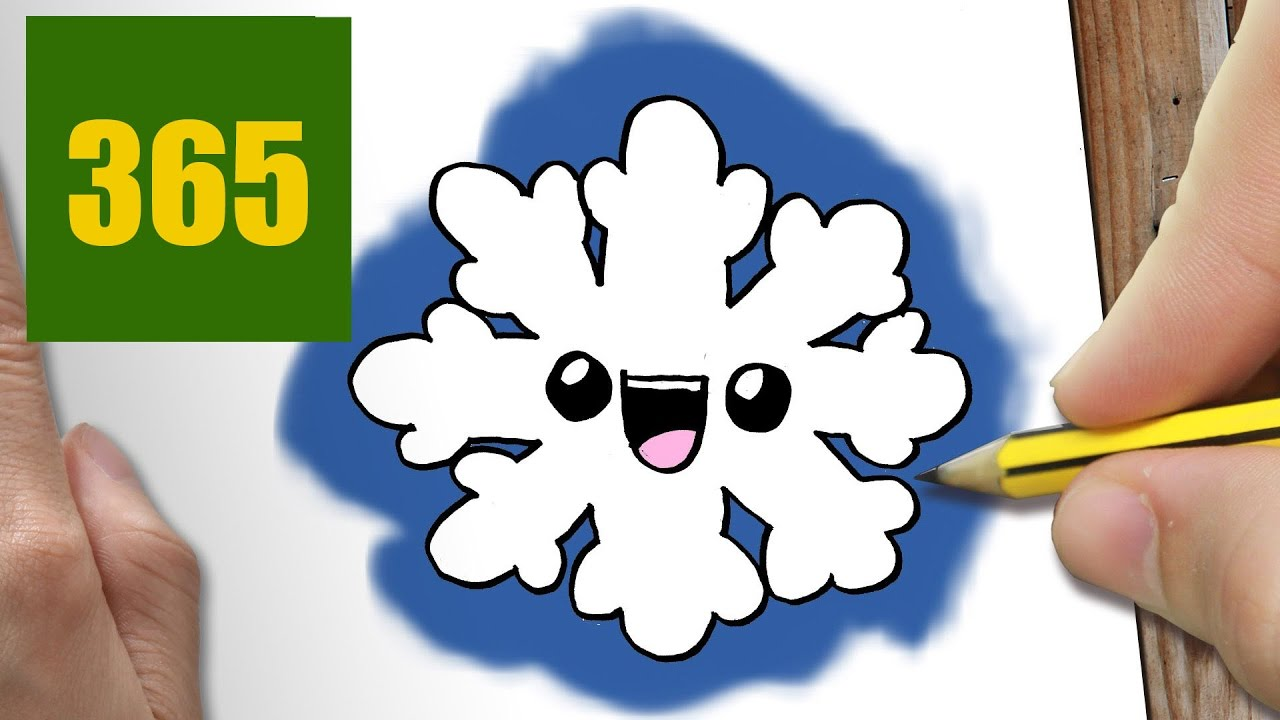 Comment dessiner flocon de neige kawaii tape par tape - Comment dessiner un flocon de neige facile ...