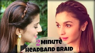 CUTE & EASY 2 Min Everyday Headband Braid For School, College, Work | Alia Bhatt | Indian Hairstyles