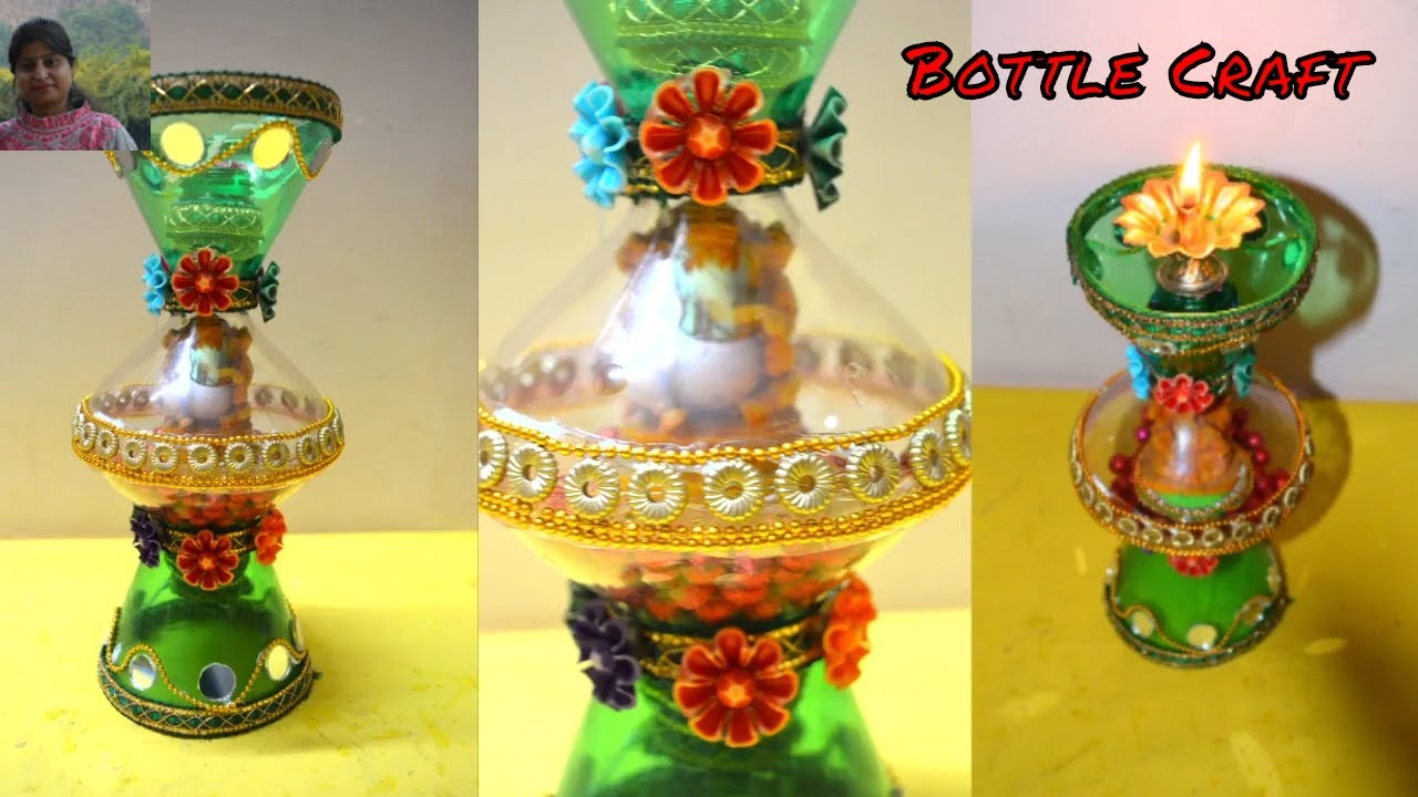 Bottle craft diya and candle holder with waste plastic for Craft using waste bottles