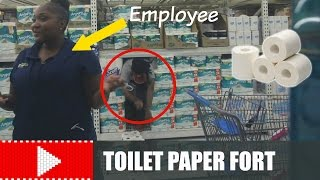 CAUGHT INSIDE A TOILET PAPER FORT IN WALMART!!!