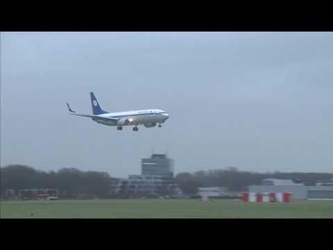 Vliegtuigen trotseren westerstorm op Schiphol