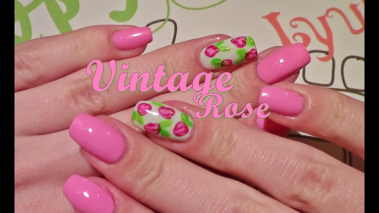 tutorial nageldesign vintage rose youtube. Black Bedroom Furniture Sets. Home Design Ideas