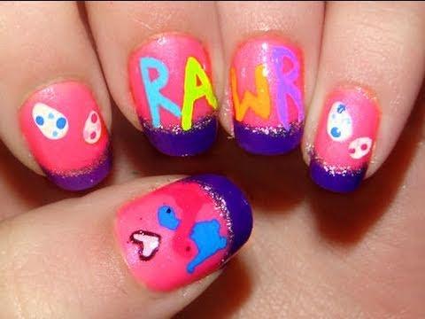 cute dinosaur nail art